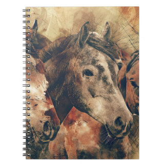 Horses, brown spiral note book