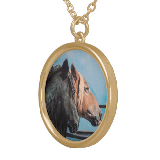 Horses/Cabalos/Horses Gold Plated Necklace