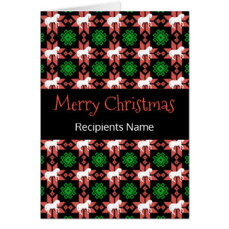 Horses Christmas Card - Merry Christmas Pattern