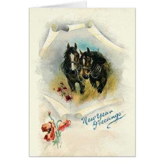 Horses Custom Christmas Greeting Card