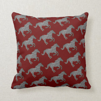 horses farm pattern decor throw pillow