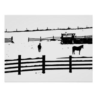 Horses, Fences, and Snow Poster