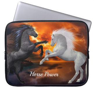 Horses fighting in a bad lightning storm laptop sleeve