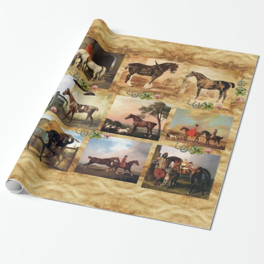 HORSES FINE ART PAINTINGS PARCHMENT,HORSE SHOES WRAPPING PAPER