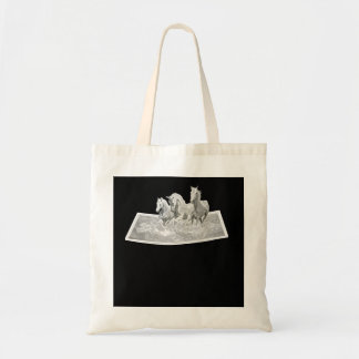HORSES GALLOPING THROUGH WATER ON TOTE BAG