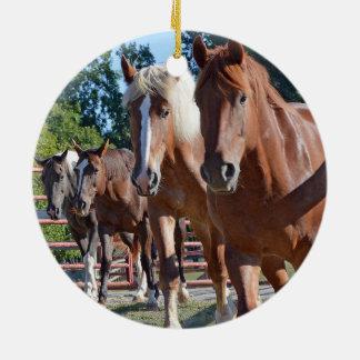 Horses Headed Back To The Barn Ceramic Ornament
