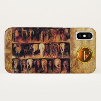 Horses' Hindquarters, Orange Agate Gem Monogram iPhone X Case