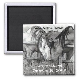 HORSES: HITCHED: MARRIAGE: SAVE DATE MAGNET