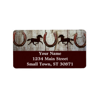 Horses Horseshoes Barn Wood Cowboy Address Labels