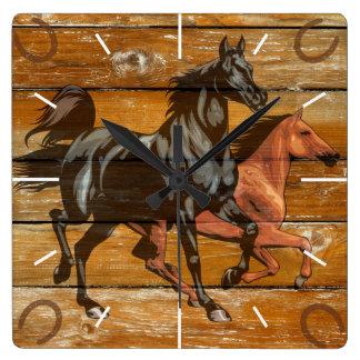 Horses Horseshoes Barn Wood Cowboy Square Wall Clock