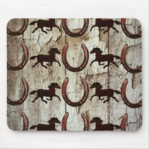 Horses Horseshoes on Barn Wood Cowboy Gifts Mouse Pad