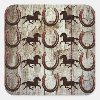 Horses Horseshoes on Barn Wood Cowboy Gifts Square Sticker