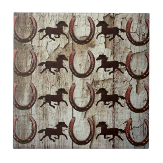 Horses Horseshoes on Barn Wood Cowboy Gifts Tile