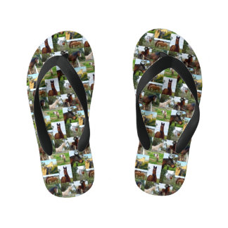 Horses In A Photo Collage, Kid's Flip Flops