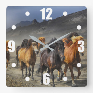 Horses in a shoot square wall clock