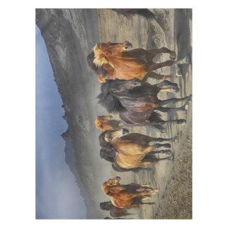 Horses in a shoot tablecloth