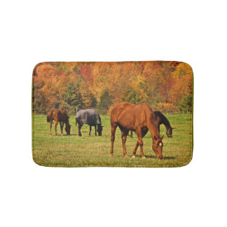 Horses in Autumn Animal Bath Mats