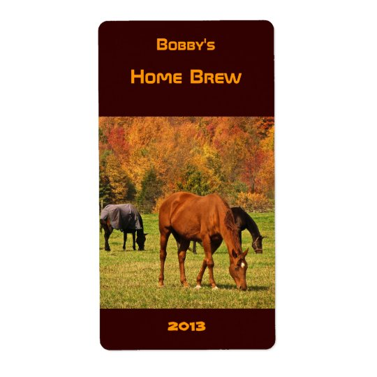Horses in Autumn Beer Label Shipping Label