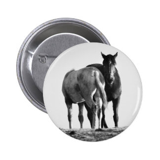 Horses in Black and White Button Badge