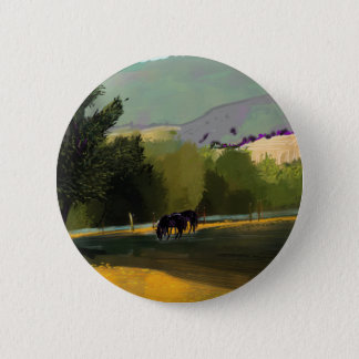 HORSES IN FIELD 2 INCH ROUND BUTTON