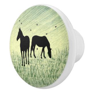 Horses in Field Ceramic Knob