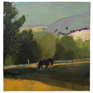 HORSES IN FIELD NAPKIN