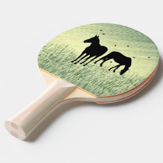 Horses in Field Ping Pong Paddle