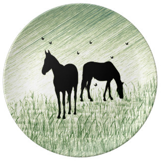 Horses in Field Porcelain Plate