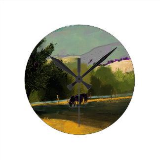 HORSES IN FIELD ROUND CLOCK