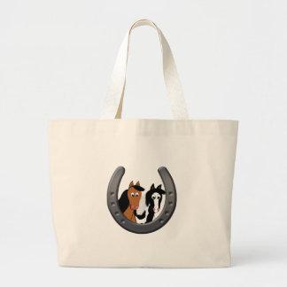 horses in horseshoe large tote bag