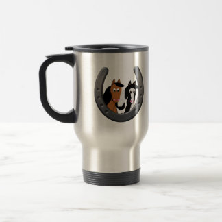 horses in horseshoe travel mug