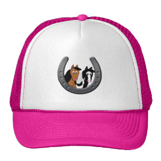 horses in horseshoe trucker hat