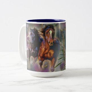 Horses in motion Two-Tone coffee mug