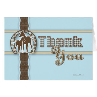 Horses in Plaid Thank You Note Cards