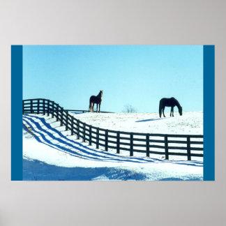 Horses in Snow Print