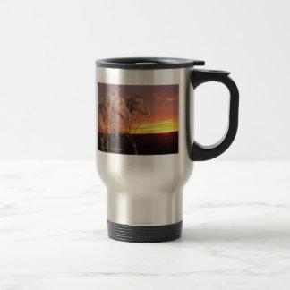 Horses in Sunrise Travel Mug