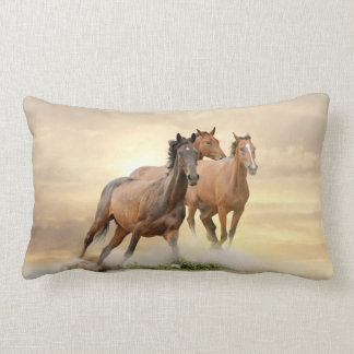 Horses In Sunset Lumbar Pillow