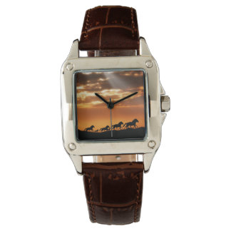 Horses in sunset wristwatch