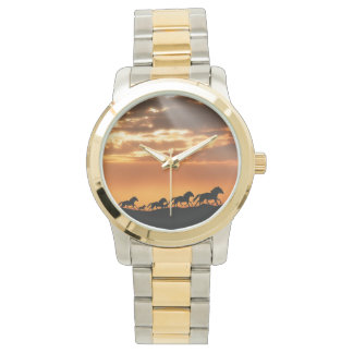Horses in sunset wristwatches