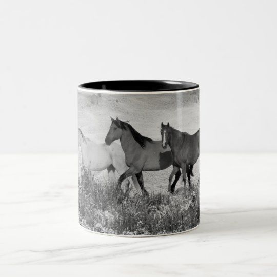 Horses In The Snow - Black and White Two-Tone Coffee Mug