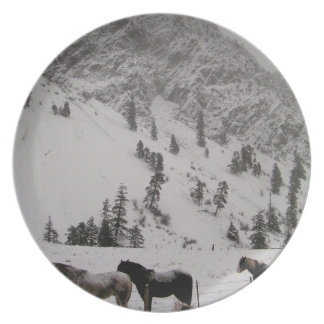 Horses in the snow in the mountains plate