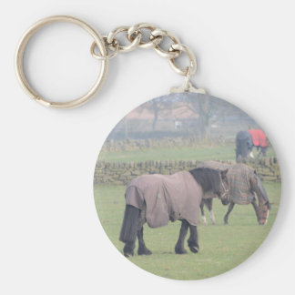 Horses In Winter With Coats On Basic Round Button Keychain