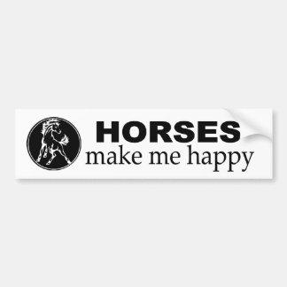 Horses make me Happy. Decal for equestrians. Bumper Sticker