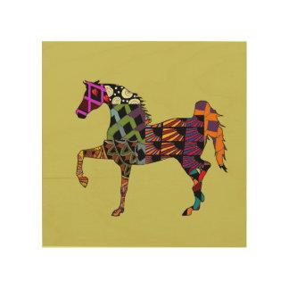 Horses make my life full of color wood print