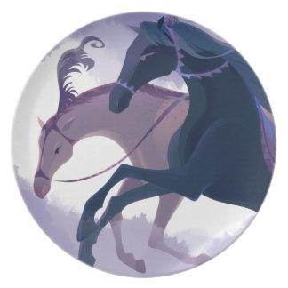 Horses - Mist Melamine plate