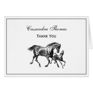 Horses Mother Baby Foal Framed Thank You H Card