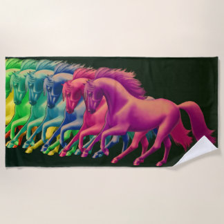 Horses of Different Colors Beach Towel