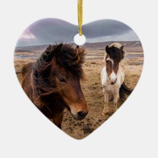 Horses of Iceland Ceramic Ornament