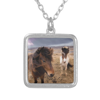 Horses of Iceland Silver Plated Necklace