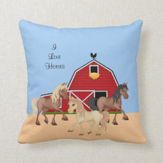 Horses on a Farm Throw Pillow